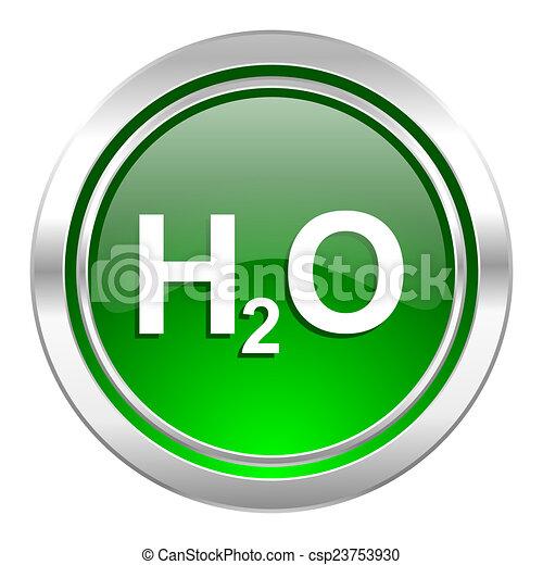 water icon, green button, h2o sign - csp23753930