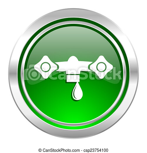 water icon, green button, hydraulics sign - csp23754100