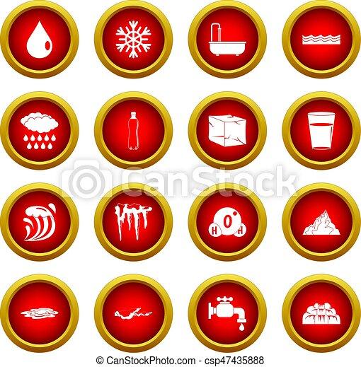 Water icon red circle set - csp47435888