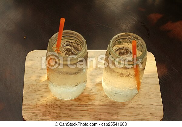 Water in a glass on a tray of wooden. - csp25541603