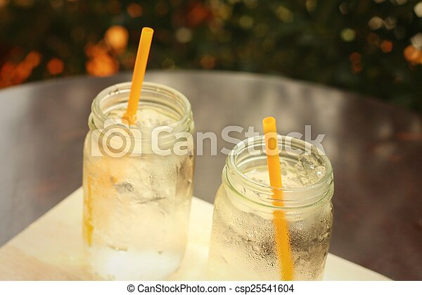 Water in a glass on a tray of wooden. - csp25541604