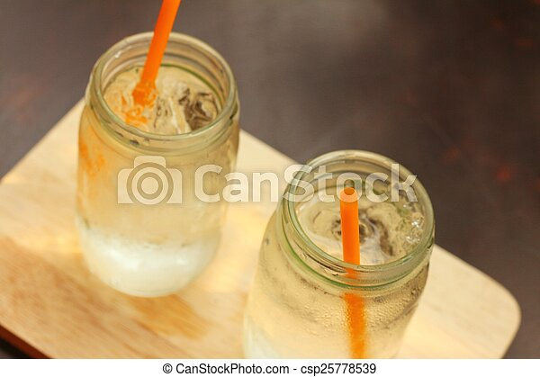 Water in a glass on a tray of wooden. - csp25778539