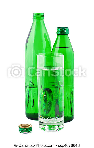 Water in bottles isolated on white background. - csp4678648