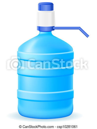 water in plastic bootle with a hand pump illustration - csp10281061