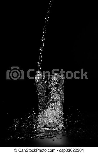 water is poured into a glass - csp33622304