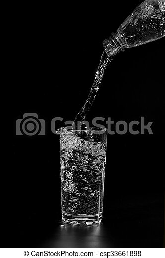 water is poured into a transparent glass - csp33661898