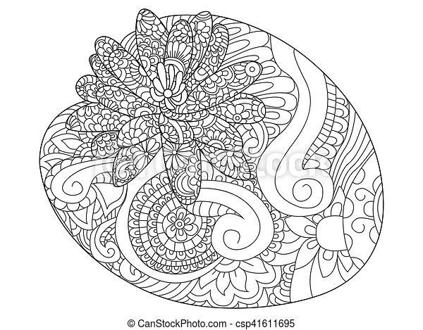 Water lily flower coloring raster for adults - csp41611695