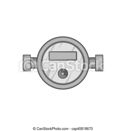 Water meter icon, black monochrome style. Water meter icon in black ...