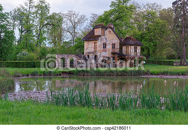Water mill and Old village of Marie Antoinette at Versailles - csp42186011
