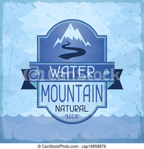 Water mountain background in retro style. - csp16858876