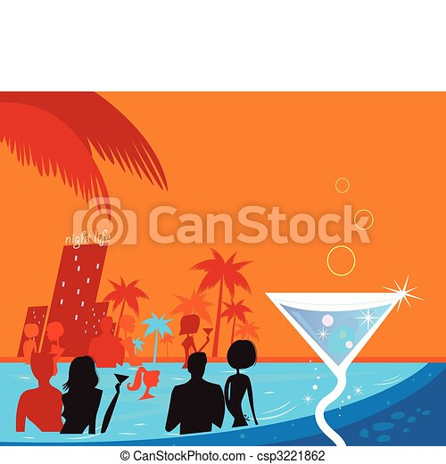 Water night party: People in pool & fresh Martini drink - csp3221862