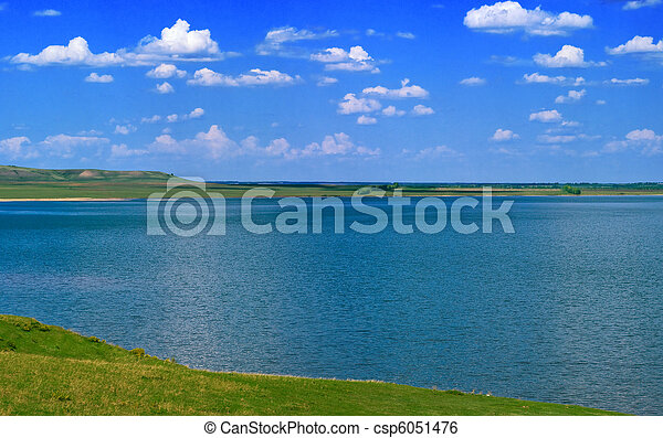 water of lake and cloudy sky - csp6051476