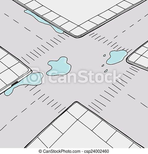 Water on Street - csp24002460