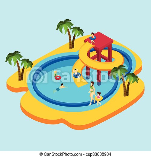 water park illustration water park with children and parents on rh canstockphoto com water park fun clipart Water Theme Park Clip Art