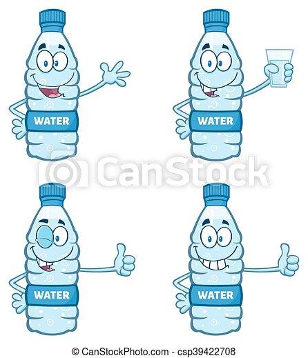 Water Plastic Bottle Collection Water Plastic Bottle Cartoon