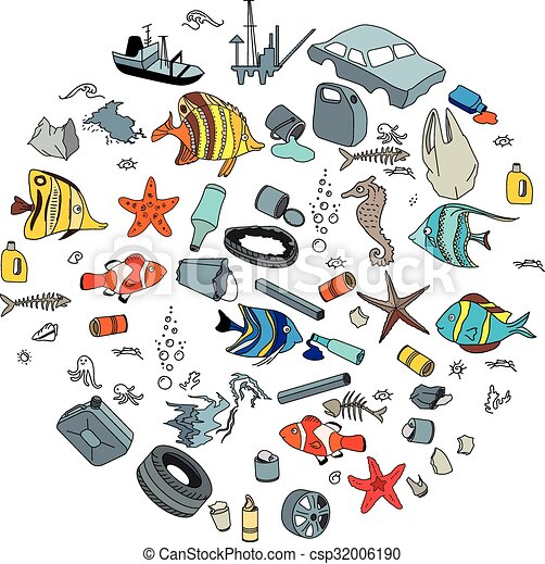 Water Pollution In The Ocean Garbage And Waste Eco Concept