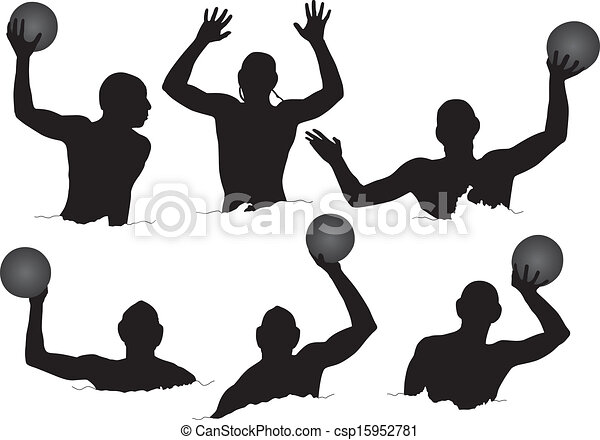 water polo silhouette on white background rh canstockphoto com water polo images clip art water polo player clipart