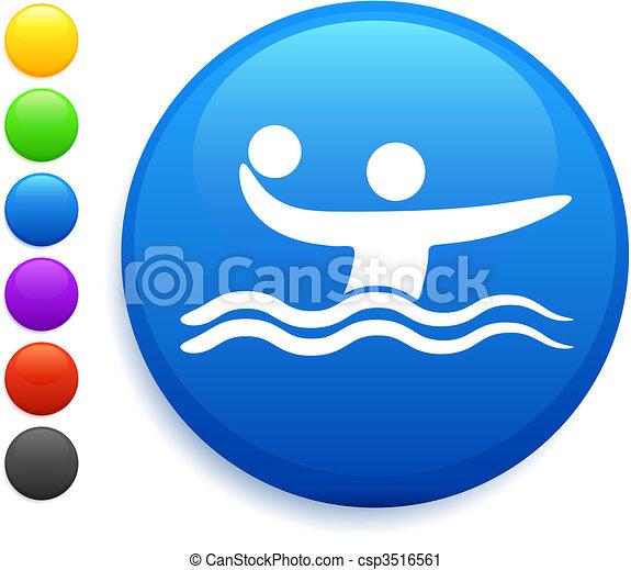 water polo icon on round internet button - csp3516561