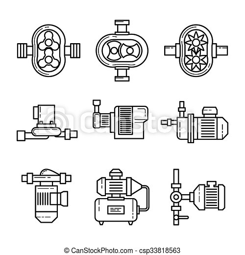 Water Pump Vector Line Icons Sets 33818563