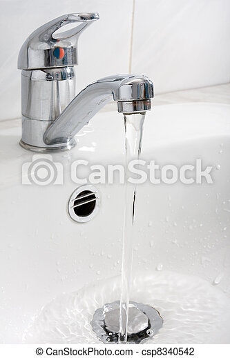 water running down from the faucet - csp8340542
