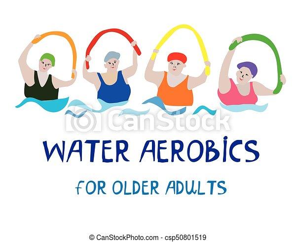 water, senior, spandoek, aerobics, vrouwen - csp50801519