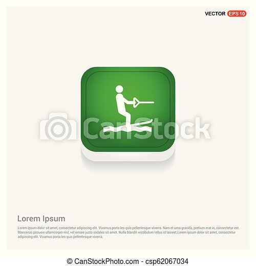 Water Skiing Icon Green Web Button - csp62067034