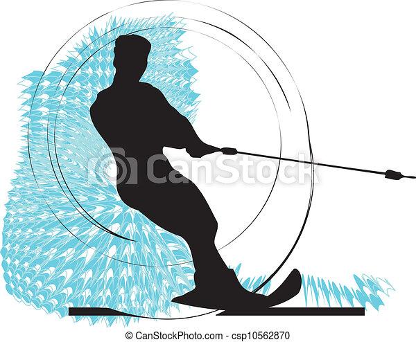 Water skiing man. vector - csp10562870
