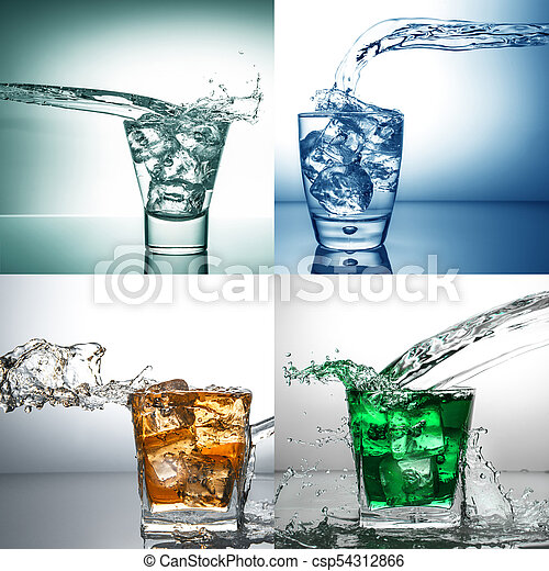 water splash collage glass - csp54312866