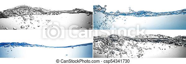 water splash collage in white background - csp54341730