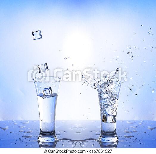 water splash in glasse, white-blue background - csp7861527