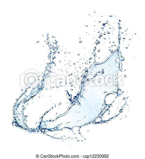 Water splash isolated on white background - csp12230992