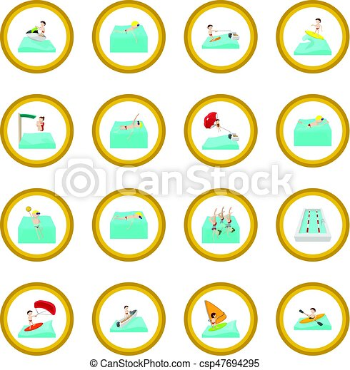 Water sport cartoon icon circle - csp47694295