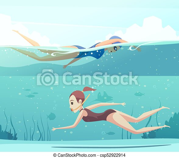 Water Sports Banners Set Cartoon Set Of Horizontal Banners With Two Women Doing Water Sports And Swimming Underwater