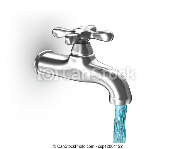 Water tap with running water - csp12804122