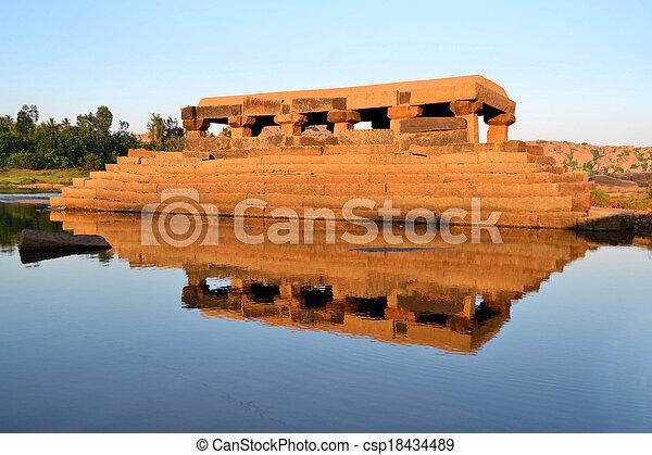 Water temple in Tungabhadra river, India, Hampi - csp18434489