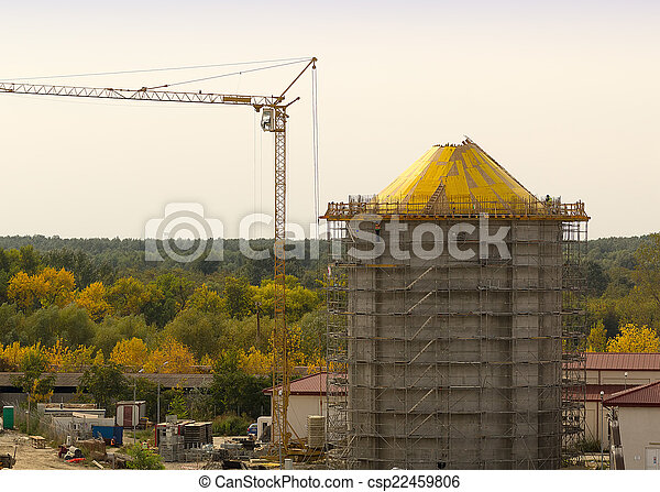 water tower construction scaffolding - csp22459806