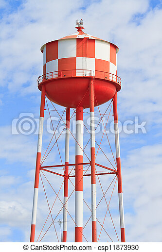 Water tower with red and white stripes - csp11873930