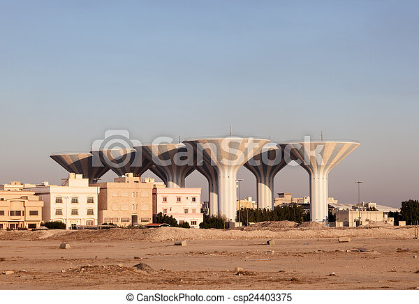 Water towers in Dahiya Abdullah Mubarak. Kuwait, Middle East - csp24403375