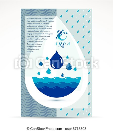 Water treatment company advertising flyer  Global water circulation  conceptual design, blue planet