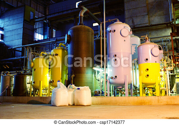 water treatment tanks at power plant - csp17142377
