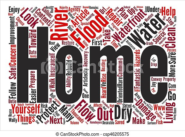 Water Water Everywhere on the Waterfront text background word cloud concept - csp46205575