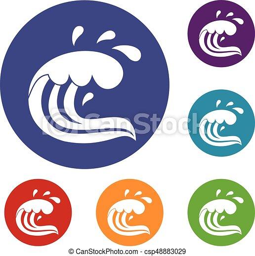 Water wave splash icons set - csp48883029