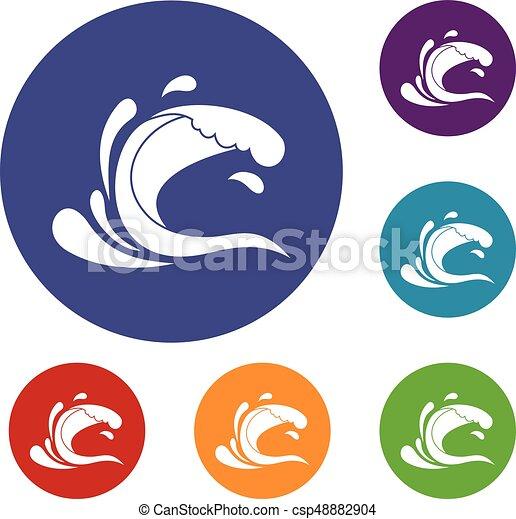 Water wave splash icons set - csp48882904