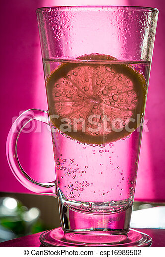 Water with lemon in the club - csp16989502