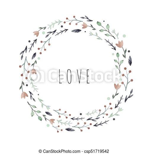 Watercolor Abstract Floral Vector Wreath