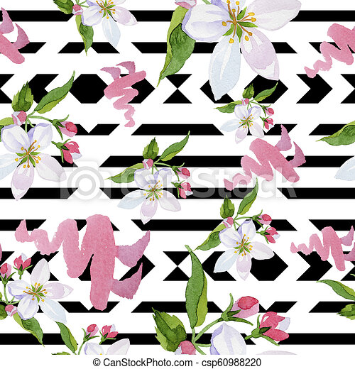 Watercolor Apple Blossom Flower Floral Botanical Flower Seamless Background Pattern