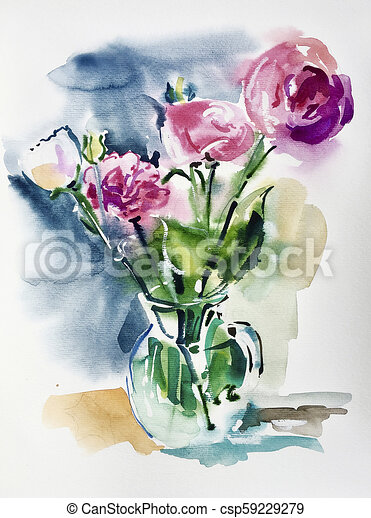 Can Stock Photo & watercolor artwork of pink flowers in a glass vase