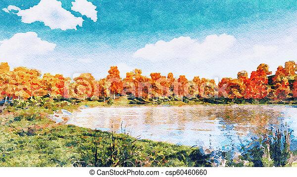 Watercolor autumn landscape on a forest lake shore - csp60460660