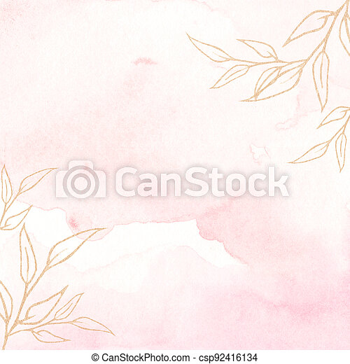 Watercolor background texture soft pink and gold. - csp92416134