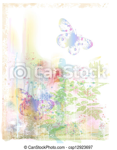 watercolor background with butterflies - csp12923697